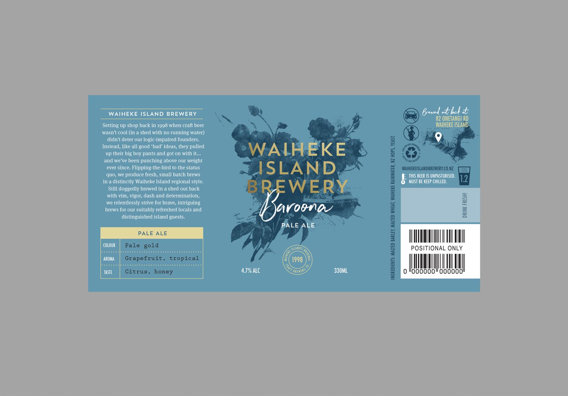 Waiheke Island Brewery Baroona beer